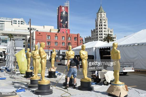 Oscar statues are prepared during the set up for the 89th Academy Awards at Hollywood Highland Center on February 24 2017 in Hollywood California
