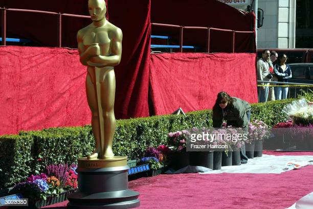 Oscar statues are seen on the red carpet the day before the Academy Awards at Hollywood and Highland on February 28 2004 in Hollywood California