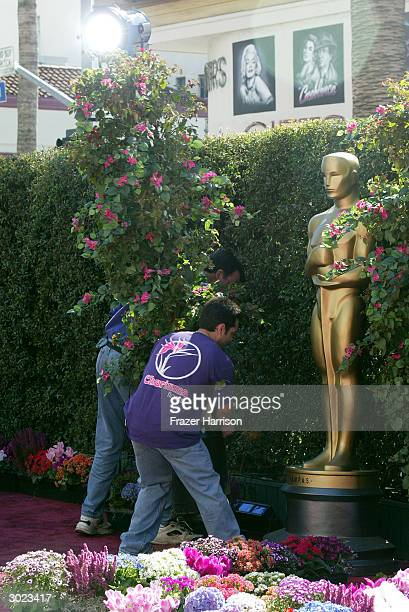 Oscar statues are surrounded by flowers on the red carpet the day before the Academy Awards at Hollywood and Highland on February 28 2004 in...