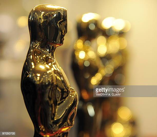 Oscar Statues on display at the Time Warner Center in New York February 25 2010 during the Academy of Motion Picture Arts and Sciences 'Meet the...