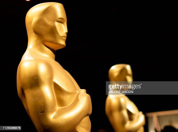Oscar statues stand during a preview for the Governors Ball during the 91st annual Academy Awards week in Hollywood on California February 15 2019