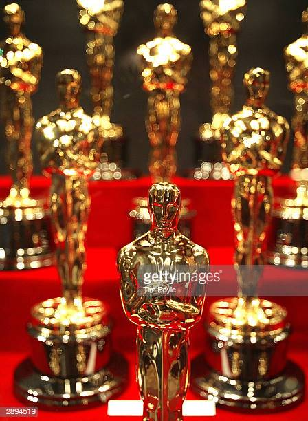 Oscar statuettes are displayed during an unveiling of the 50 Oscar statuettes to be awarded at the 76th Academy Awards ceremony January 23, 2004 at...