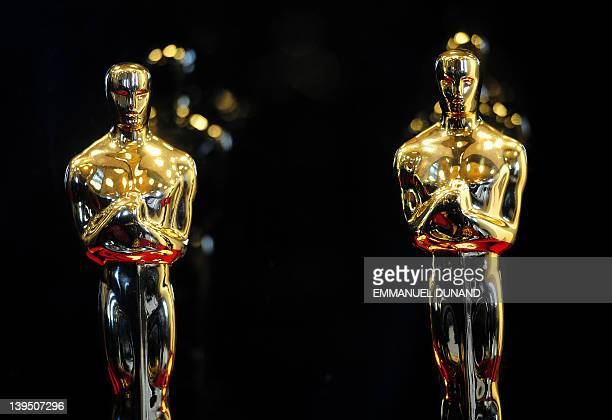 Oscar statuettes are on display during the opening of the 'Meet the Oscars Grand Central' exhibition at Grand Central Station in New York February 22...