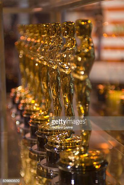 """Oscar statuettes that will be presented to winners at an Academy Award presentation are displayed at """"Meet the Oscars"""" in the Times Square Studios on..."""