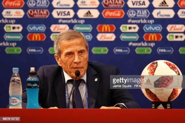 Oscar Tabarez Head coach of Uruguay attends the post match press conference following the 2018 FIFA World Cup Russia Quarter Final match between...
