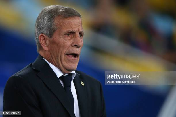Oscar Tabarez head coach of Uruguay gestures during the Copa America Brazil 2019 group C match between Chile and Uruguay at Maracana Stadium on June...