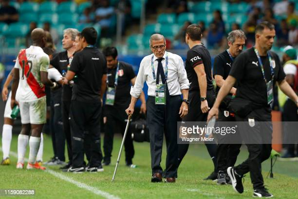 Oscar Tabarez head coach of Uruguay gestures during the Copa America Brazil 2019 quarterfinal match between Uruguay and Peru at Arena Fonte Nova on...