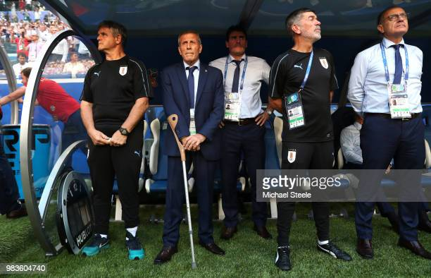 Oscar Tabarez Head coach of Uruguay looks on from the bench prior to the 2018 FIFA World Cup Russia group A match between Uruguay and Russia at...