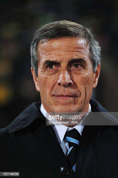 Oscar Tabarez head coach of Uruguay looks on prior to the 2010 FIFA World Cup South Africa Group A match between South Africa and Uruguay at Loftus...