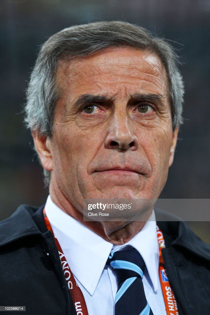Oscar Tabarez head coach of Uruguay watches play from the touchline during the 2010 FIFA World Cup South Africa Quarter Final match between Uruguay and Ghana at the Soccer City stadium on July 2, 2010 in Johannesburg, South Africa.