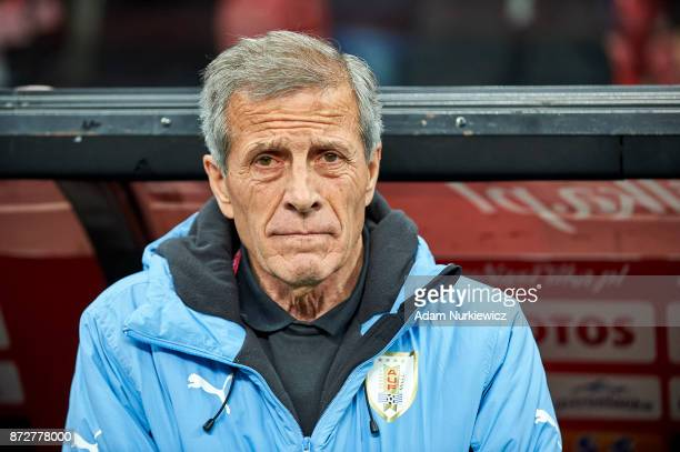 Oscar Tabarez trainer coach from Uruguay looks forward while Poland v Uruguay International Friendly soccer match at National Stadium on November 10...