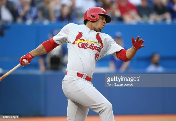 Oscar Taveras of the St Louis Cardinals bats in the third inning during an MLB game against the Toronto Blue Jays on June 6 2014 at Rogers Centre in...