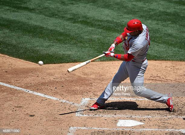Oscar Taveras of the St Louis Cardinals plays during a baseball game against the San Diego Padres at Petco Park July 31 2014 in San Diego California