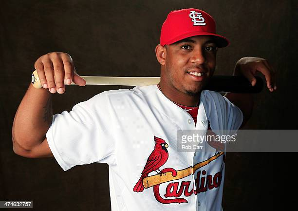 Oscar Taveras of the St Louis Cardinals poses for a portrait during photo day at Roger Dean Stadium on February 24 2014 in Jupiter Florida