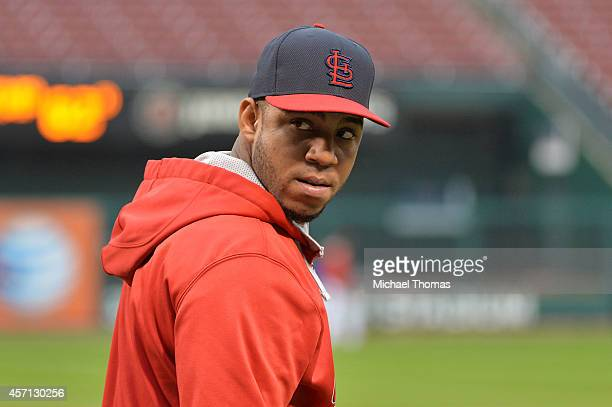 Oscar Taveras of the St Louis Cardinals warms up during batting practice prior to Game Two of the National League Championship Series against the San...