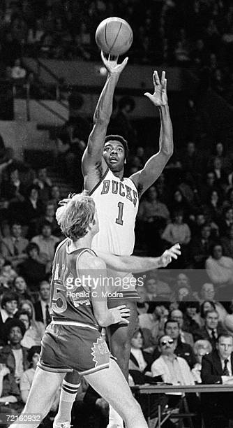 Oscar The Big O Robertson of the Milwaukee Bucks in a game in the 1970s in Milwaukee Wisconsin