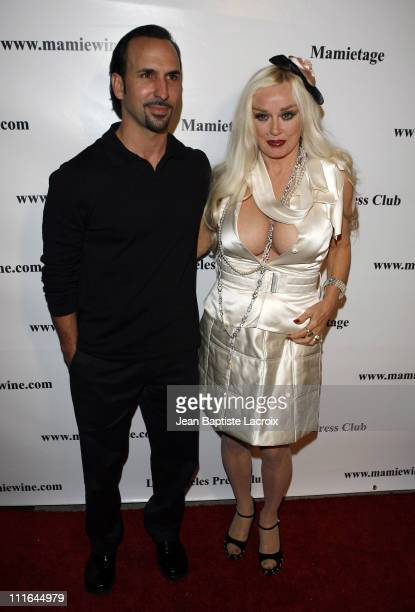 Oscar Torre and Mamie Van Doren arrive at the National Launch event for Mamie Van Doren's new wine collection MAMITAGE at Eleven Club on November 14...