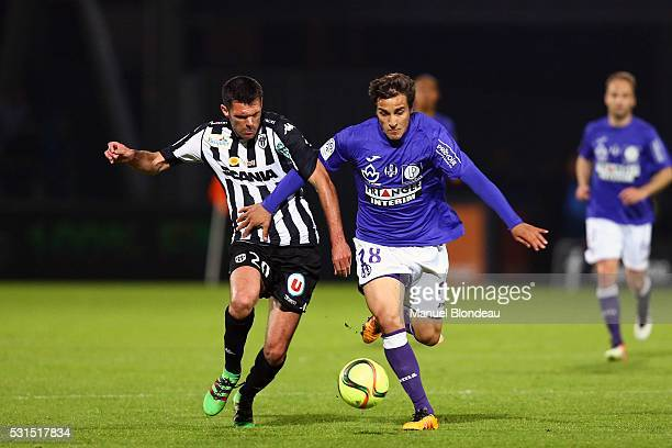 Oscar Trejo of Toulouse and Charles Diers of Angers during the football french Ligue 1 match between Angers SCO and Toulouse FC on May 14 2016 in...