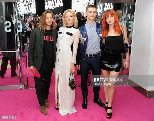Oscar Tuttiett Clara Paget Josh Ludlow and Georgia May Jagger attend the European Premiere of Suicide Squad at Odeon Leicester Square on August 3...