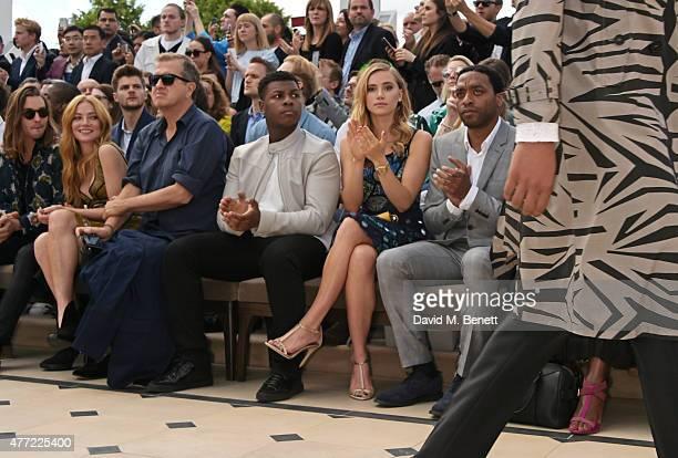 Oscar Tuttiett Clara Paget Mario Testino John Boyega Suki Waterhouse and Chiwetel Ejiofor sit in the front row at Burberry Menswear Spring/Summer...