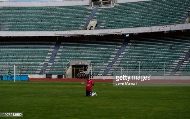 Oscar Vaca of Wilstermann prays during a match between Bolivar and Wilstermann as part of Torneo Apertura 2020 at Estadio Hernando Siles on March 14,...
