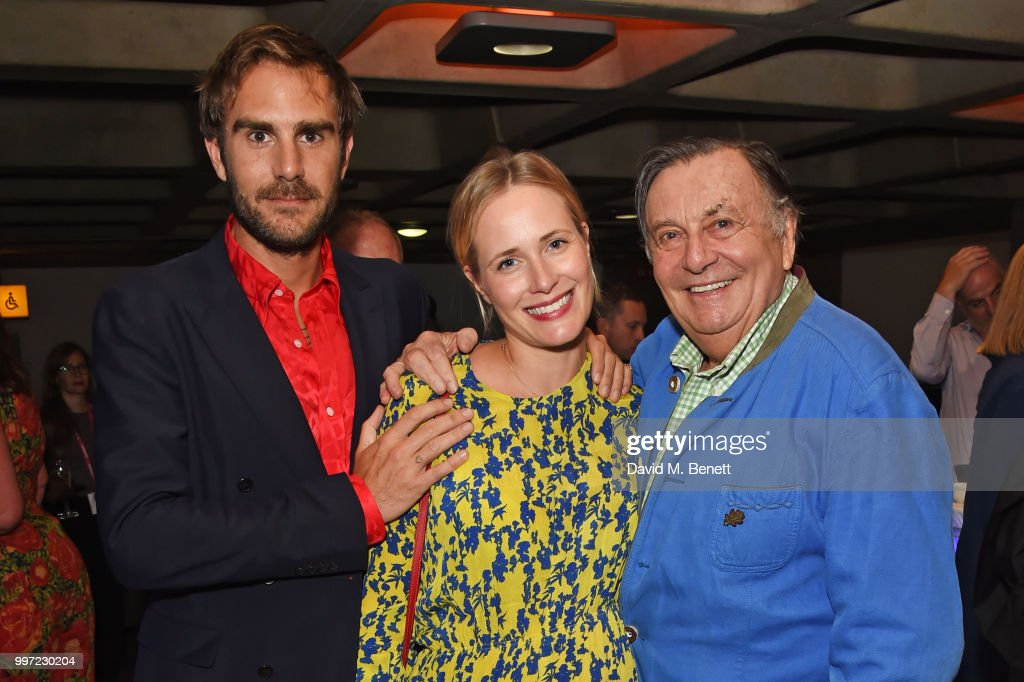 Oscar Valentine, Sophie Oakley and Barry Humphries attend the press night performance of 'Barry Humphries' Weimar Cabaret' at The Barbican Centre on July 12, 2018 in London, England.