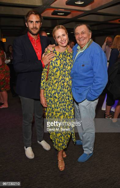 Oscar Valentine Sophie Oakley and Barry Humphries attend the press night performance of 'Barry Humphries' Weimar Cabaret' at The Barbican Centre on...