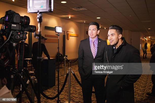 Oscar Vasquez and Carlos PenaVega attend the 'Spare Parts' screening at Landmark E Street Cinema on January 13 2015 in Washington DC
