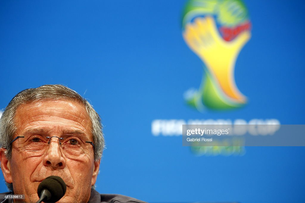 Oscar Washington Tabarez, head coach of Uruguay, speaks during a press conference At Maracana Stadium as part of the 2014 FIFA World Cup on June 27, 2014 in Rio de Janeiro, Brazil.