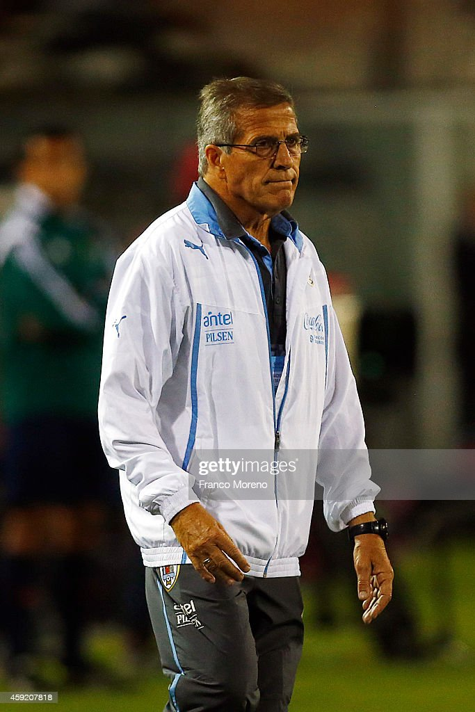 Oscar Washington Tavares coach of Uruguay reacts after his players failed during an international friendly match between Chile and Uruguay at Monumental Stadium on November 18 2014 in Santiago, Chile.