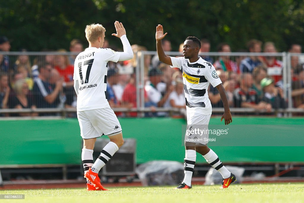 Oscar Wendt and Ibrahima Traore of Moenchengladbach during the DFB Cup match between SV Drochtersen/Assel and Borussia Moenchengladbach at Kehdinger Stadion on August 20, 2016 in Drochtersen, Germany.