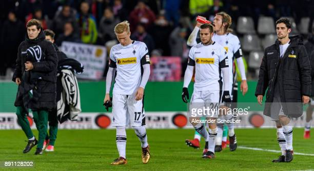 Oscar Wendt and Raul Bobadilla of Moenchengladbach are disappointed during the Bundesliga match between SportClub Freiburg and Borussia...
