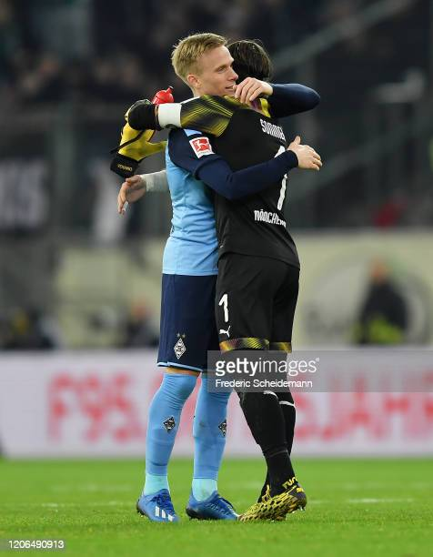 Oscar Wendt of Borussia Moenchengladbach and goalkeeper Yann Sommer of Borussia Moenchengladbach celebrate after the Bundesliga match between Fortuna...
