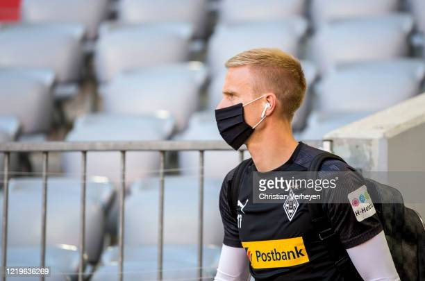 Oscar Wendt of Borussia Moenchengladbach arrive at the stadium ahead the Bundesliga match between FC Bayern Muenchen and Borussia Moenchengladbach at...