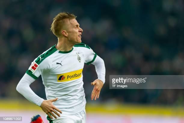 Oscar Wendt of Borussia Moenchengladbach celebrates after scoring his team's first goal during the Bundesliga match between Borussia Moenchengladbach...