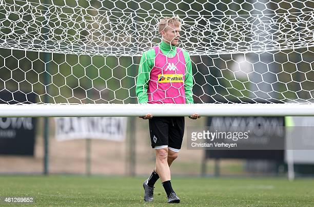 Oscar Wendt of Borussia Moenchengladbach during a training session at day three of Borussia Moenchengladbach training camp on January 10 2015 in...