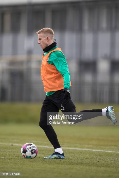 Oscar Wendt of Borussia Moenchengladbach in action during a Borussia Moenchengladbach training session at Borussia-Park on February 17, 2021 in...