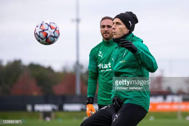 Oscar Wendt of Borussia Moenchengladbach in action during a Training session of Borussia Moenchengladbach at BorussiaPark on October 26 2020 in...