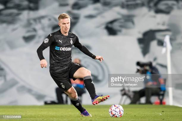 Oscar Wendt of Borussia Moenchengladbach in action during the Group B - UEFA Champions League match between Real Madrid and Borussia Moenchengladbach...