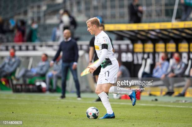 Oscar Wendt of Borussia Moenchengladbach in action during the Bundesliga match between Borussia Moenchengladbach and Bayer 04 Leverkusen at...