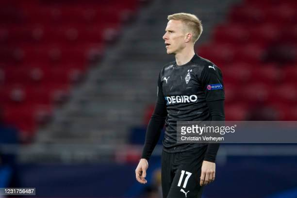March 16: Oscar Wendt of Borussia Moenchengladbach in action during the UEFA Champions League Round Of 16 Leg Two match between Manchester City and...