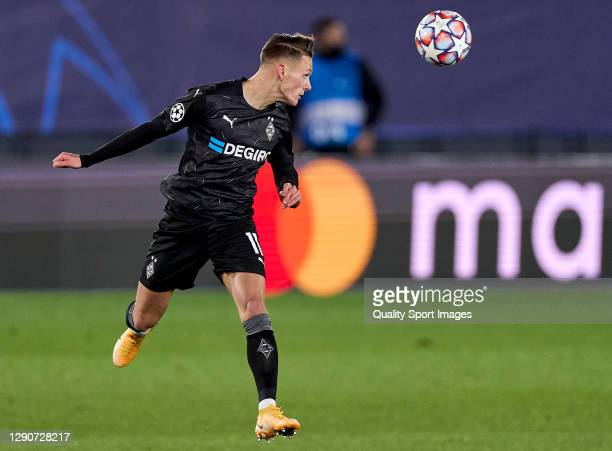 Oscar Wendt of Borussia Moenchengladbach in action during the UEFA Champions League Group B stage match between Real Madrid and Borussia...