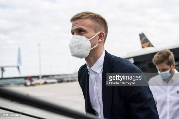 Oscar Wendt of Borussia Moenchengladbach is seen as the team travel to Budapest for their upcoming UEFA Champions League match, at Airport...