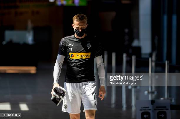 Oscar Wendt of Borussia Moenchengladbach is seen before the Bundesliga match between Borussia Moenchengladbach and 1 FC Union Berlin at BorussiaPark...