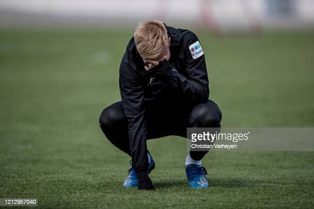 Oscar Wendt of Borussia Moenchengladbach is seen during a training session of Borussia Moenchengladbach at BorussiaPark on May 14 2020 in...
