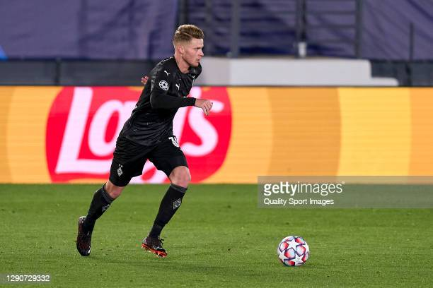 Oscar Wendt of Borussia Moenchengladbach runs with the ball during the UEFA Champions League Group B stage match between Real Madrid and Borussia...