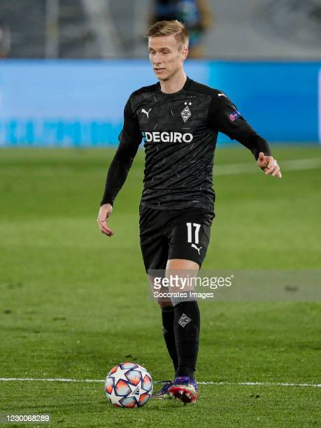 Oscar Wendt of Borussia Monchengladbach during the UEFA Champions League match between Real Madrid v Borussia Monchengladbach at the Santiago...