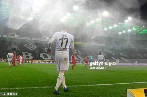 Oscar Wendt of Borussia Monchengladbach prepares to take a throw in during the Bundesliga match between Borussia Moenchengladbach and 1 FC Koeln at...
