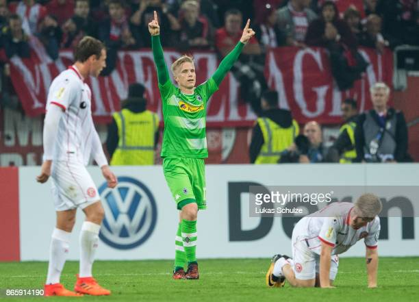 Oscar Wendt of Moenchengladbach celebrates after winning the DFB Cup match between Fortuna Duesseldorf and Borussia Moenchengladbach at Esprit-Arena...