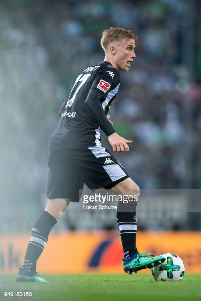 Oscar Wendt of Moenchengladbach in action during the Bundesliga match between Borussia Moenchengladbach and VfL Wolfsburg at BorussiaPark on April 20...